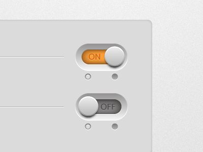 ON/OFF Toggle Buttons. White modern & minimalistic theme. #WebUIKit