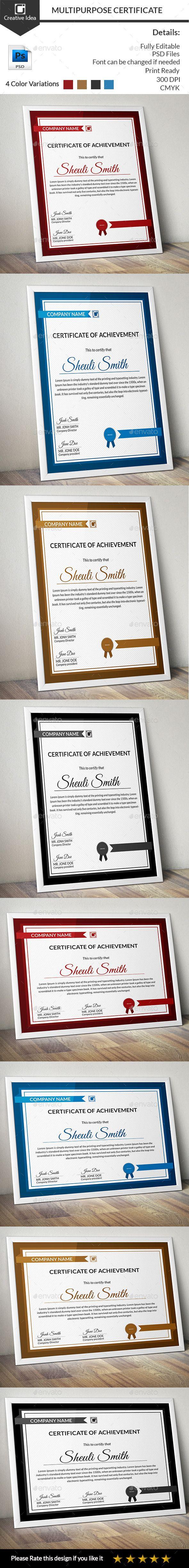 Multipurpose Certificate Template PSD. Download here: http://graphicriver.net/item/multipurpose-certificate/12294141?ref=ksioks