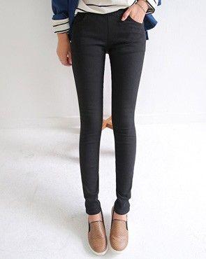 Straignt leg slacks / plaid / elastic waistband / ankle length / denim / high waist / casual
