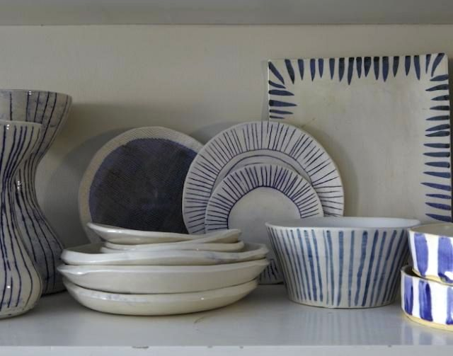 handmade/painted pottery via Paula Greif...I love this mix of designs. Lucky that I have a paint-your-own-pottery near me!