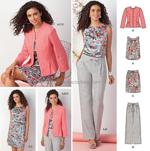 Simplicity 7725 veste rose à realiser pour l'été en lin ou doupion beige