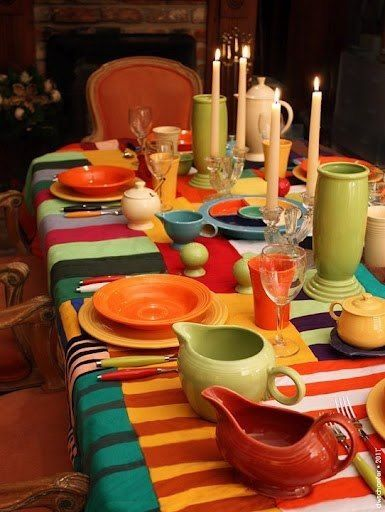 Colorful Fiestaware Dining Tablescape