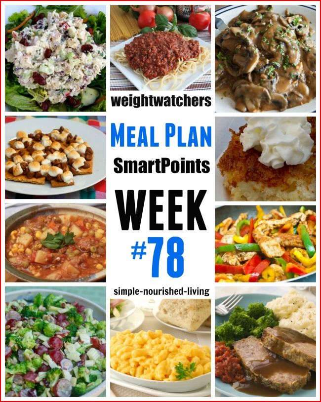 Weight Watchers Weekly 7 Day Menu with SmartPoints https://simple-nourished-living.com/2016/06/weight-watchers-weekly-meal-plan-78-smart-points/