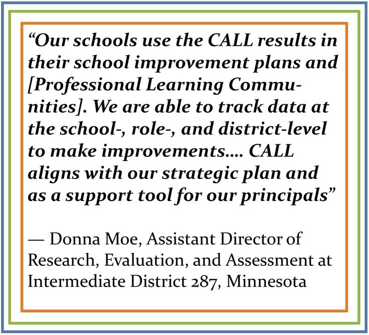 Donna Moe has been using CALL to support school improvement planning and professional growth in her district for the past three school years. Learn more about how this innovative school district used an innovative tool: https://drive.google.com/file/d/0B23hYAPyfdPdbTNtcUJlbXVLQlU/view?usp=sharing