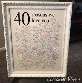 40th Birthday Gift - INSTANT Download 40 Reasons we love you! The perfect 40th birthday gift for men and women who are hard to buy for! It makes a wonderful keepsake for Dads, husbands and other men in your family. This 40th birthday poster makes a unique and personal gift or party