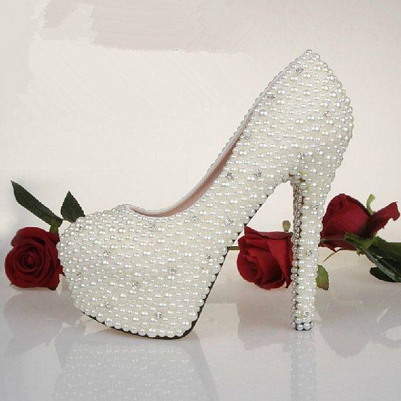 Custom Bling Heels Wedding Shoes Pearl wedding Shoes bling wedding shoes white and Ivory color available on Etsy, $169.00