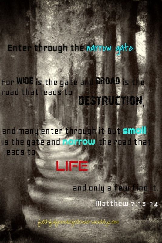 #bible verse #daily devotional #devotional #narrow path #narrow gate #life #walk #lead #path #God #Jesus #Christian #inspiring #quote #uplifting