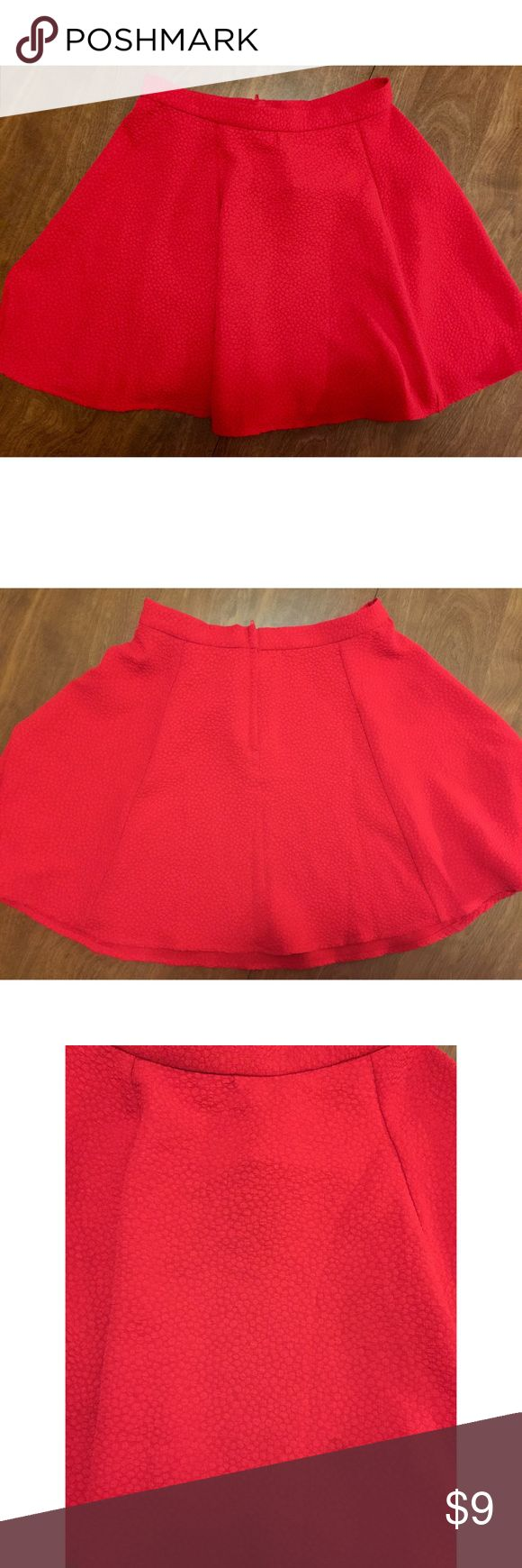 H&M - NWT - Red Skater Skirt Adorable bright red skater skirt from h&m. Never worn, tags still attached. Zippers in the back. Size 4! H&M Skirts Mini