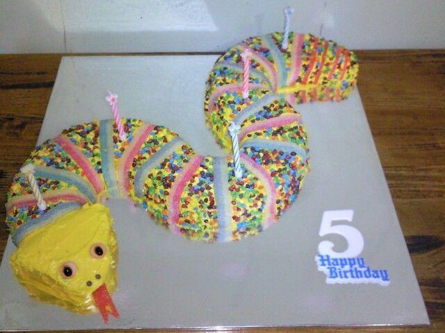 Rainbow snake cake