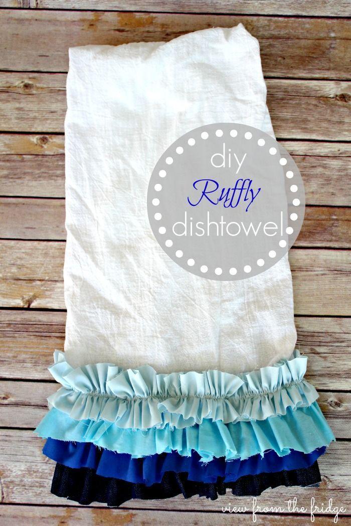 Diy ruffly dishtowels towels scrap fabric and dish