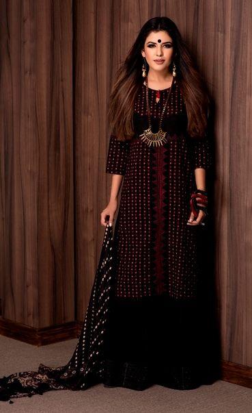 #rabari #craft #inspirations #black #red #striking #women #fashion #kurta #prints #tribal #jewellery #stole #palazzo #Fabindia