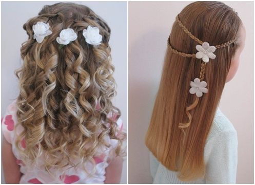little girl hairstyles. would be adorable for a flower girls hair especially cause it has flowers.