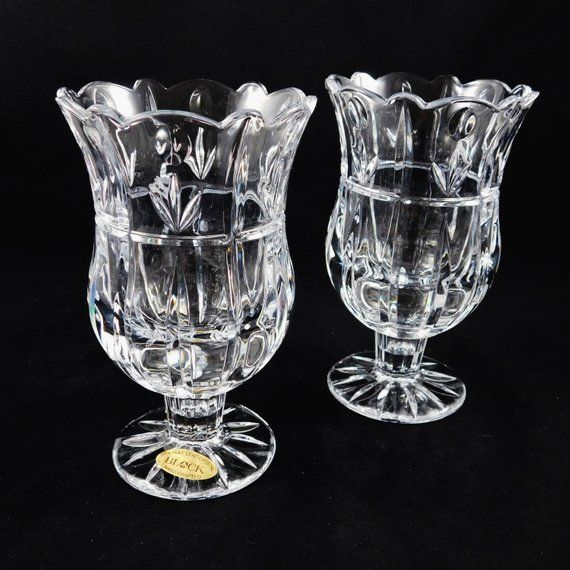 Pair 24% Crystal Candle Holders by Block in Tulip Garden, Hurricane Boxed, Czech Republic