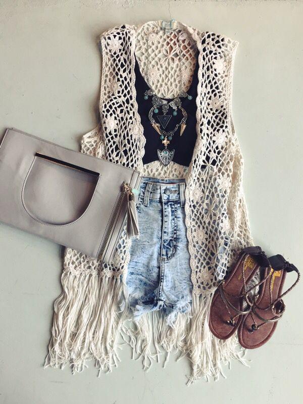 Fringe crochet vest #ootd #swoonboutique