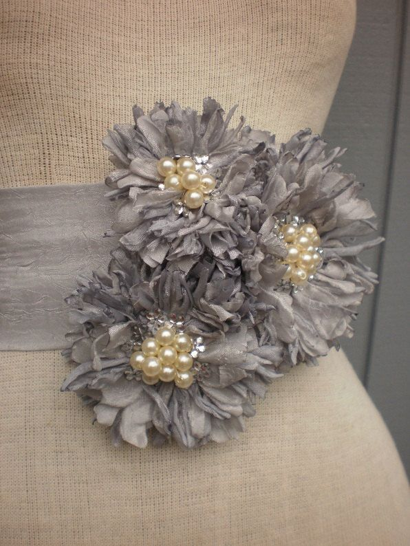 wedding bridal sash handmade grey color sash
