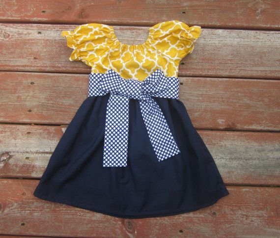 Navy and yellow dress toddler