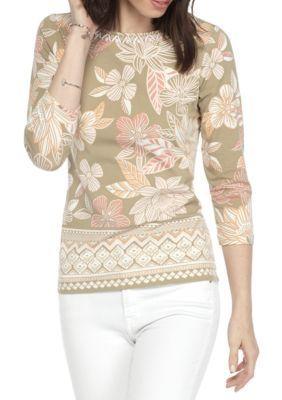 Ruby Rd Mango Multi Must Haves Border Print Floral Embellished Knit