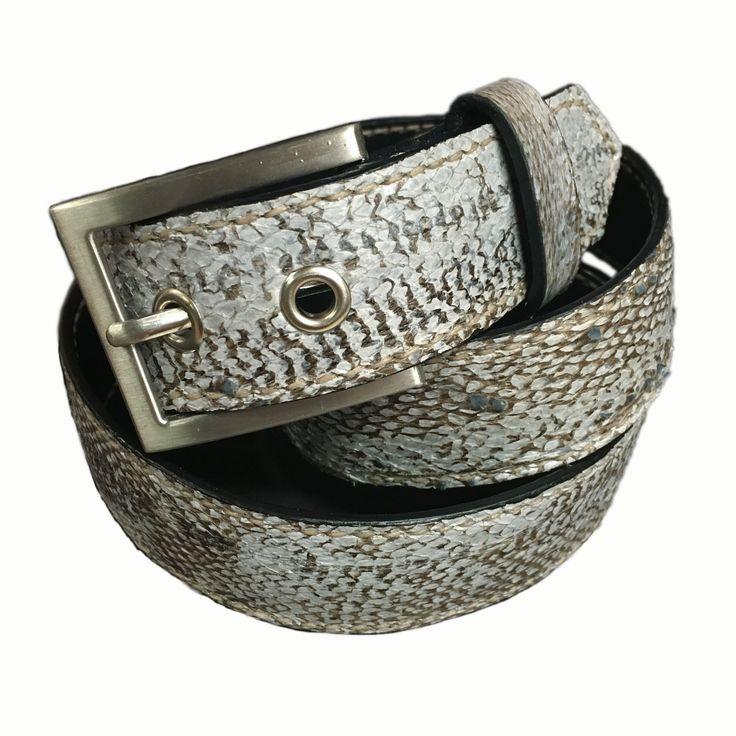 Hand stitched Cod fish leather belt 35 mm