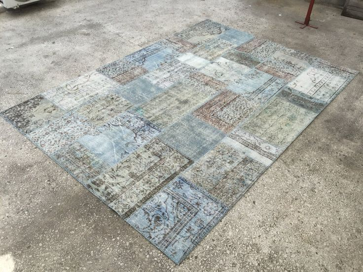 Blue  VINTAGE OVERDYED PATCHWORK Oushak Quality Carpet & Rug 9'9 x 7 by EclecticRug on Etsy