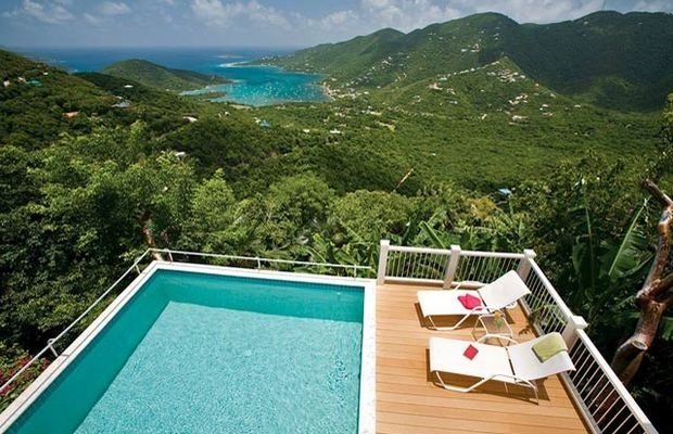 Views of Coral Bay, the Caribbean Sea and Bordeaux Mountain