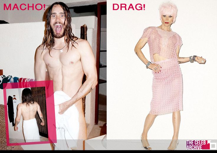 Jared Leto: Macho Vs Drag!  The Actor stripped down for his latest photoshoot with Terry Richarson, revealing his masculinity! In the same shoot, Jared dressed in drag whilst promoting his role as a transvestite!  Pics > http://www.thecelebarchive.net/ca/gallery.asp?folder=/jared%20leto/