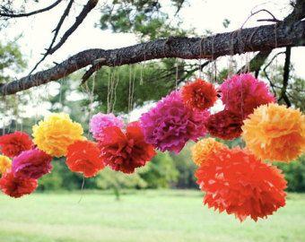 Katey Collection-5 Pom Poms - fiesta mexicaine accroché des décorations / décorations de mariage / anniversaire party décorations