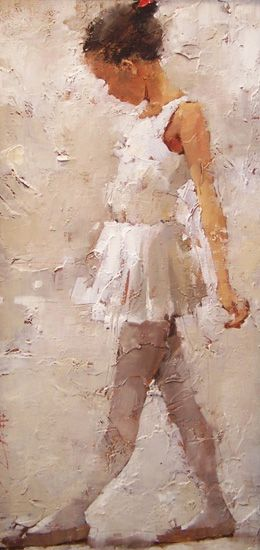 "Andre Kohn  ~~~Dance lessons. The feeling of this painting reminds me of Bethany. Graceful, demure, feminine, strong. Her ""ballerina hair""."