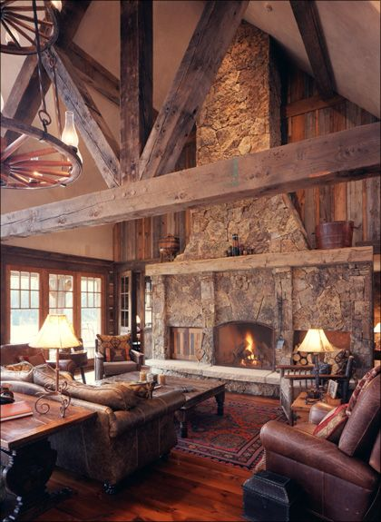 Home on the Range Interiors ~ the beams, FP, wagon wheel chandeliers
