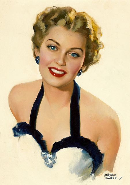 Andrew Loomis    I like those blue eyes and earrings. Nothing like an elegant woman in an evening dress.