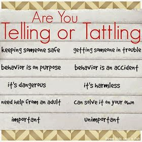 telling vs tattling printable for parents & teachers by 3 kids & a fish