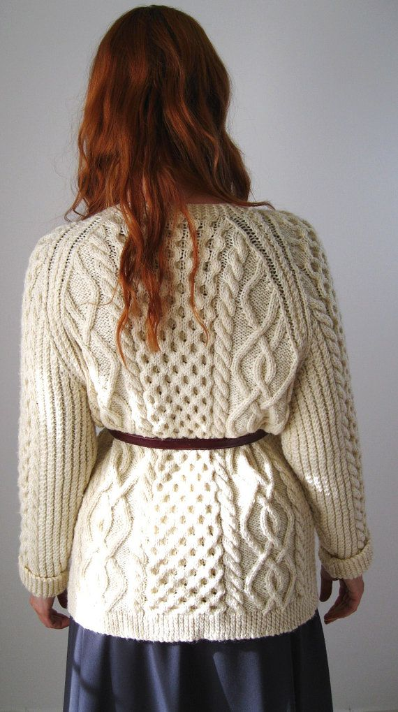 1960s Cream Wool Fishermans Sweater Cable Knit Fall ...