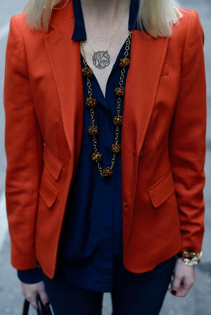 Kensie Jeans, Orange Blazers and Lisi Lerch Necklaces - Kelly in the City