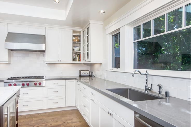 marble subway tiles backsplash and light grey bench tops - Google Search