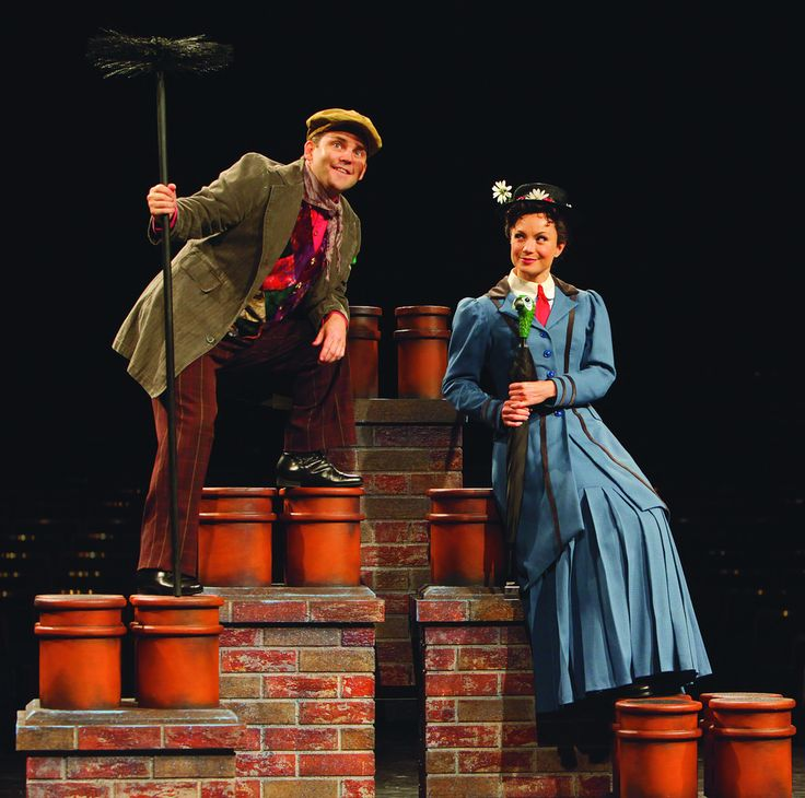 (L to R) Robert Creighton (Bert) and Kelly McCormick (Mary Poppins) in Mary Poppins, produced by Music Circus at the Wells Fargo Pavilion July 8 - 13, 2014. Photos by Charr Crail.