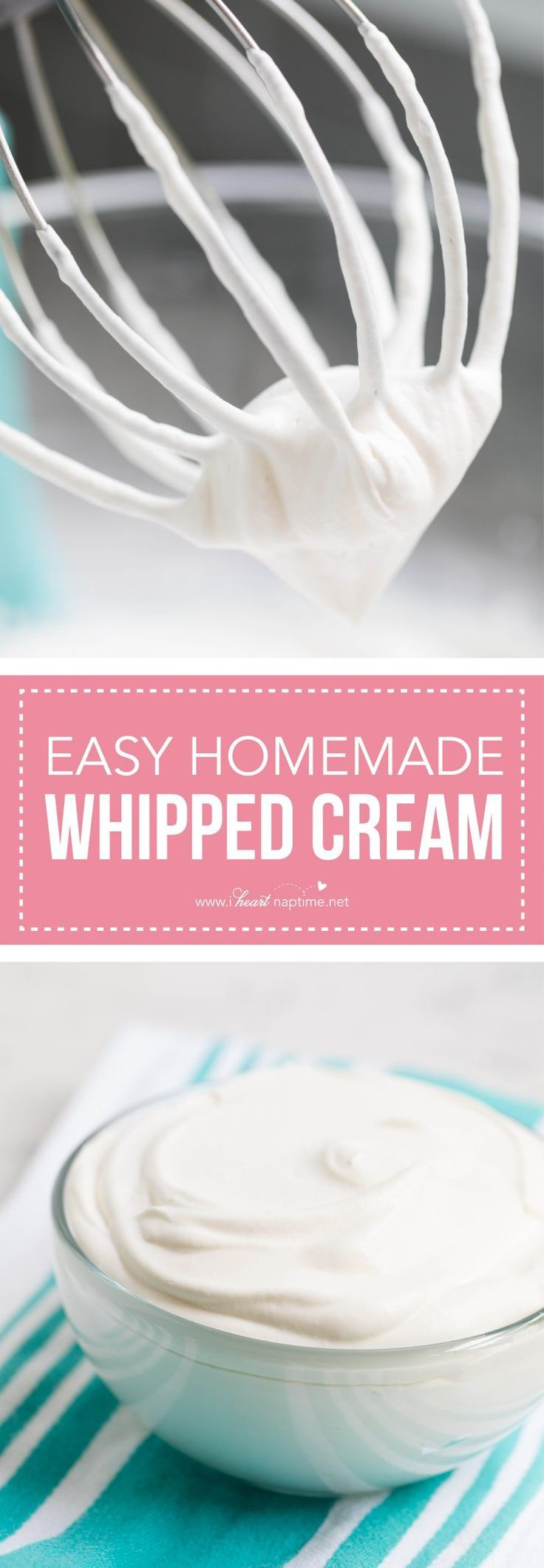 Simple homemade whipped cream -made with only 3 ingredients in less than 5 minutes!