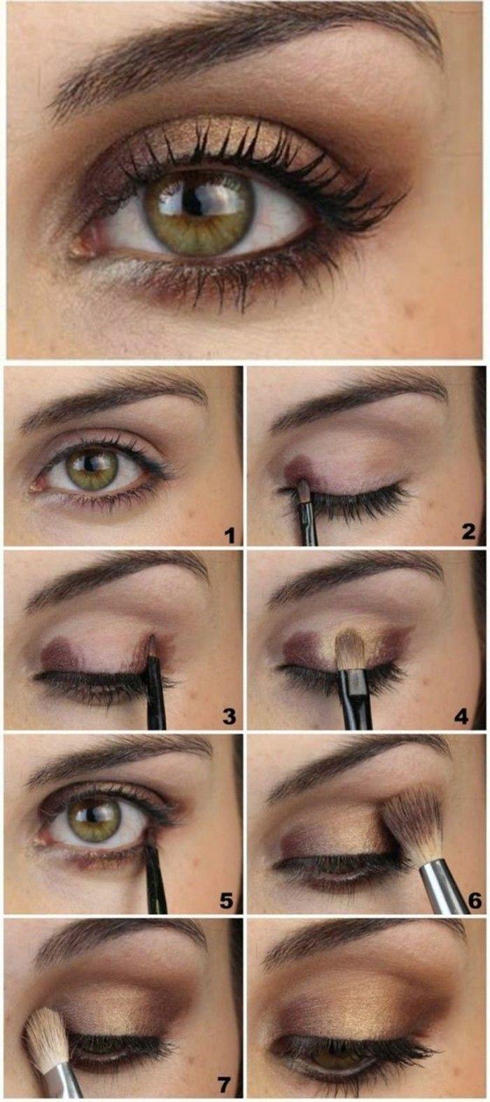 maquillage marron doré pour souligner bien les yeux