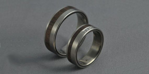 Titanium wedding ring set honduras rosewood by JewelrybyFordos