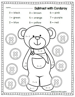 This subtract and color by number sheet is a great idea for lower elementary grades! You can tie Corduroy the book in with math also! By letting the kids color and do math at the same time this helps them to focus while doing their math!