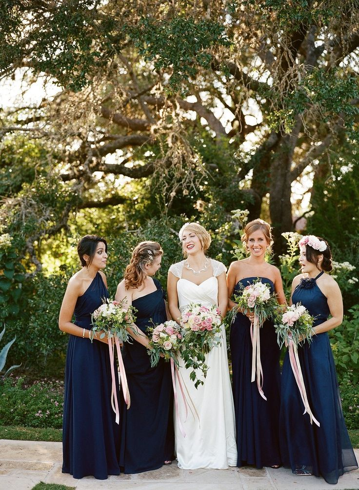 Gorgeous garden picked bridesmaid bouquets with ivory and blush floral - long ribbon ties Whim Florals | Camp Lucy | Sacred Oaks ---  Photography: Allie Lindsey Photography - allielindsey.com  Read More: http://www.stylemepretty.com/2015/02/02/classic-vintage-camp-lucy-wedding/