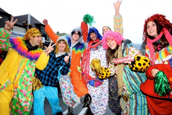 American Express Queenstown Festival Parade - the team from Cardrona Alpine Resort celebrate the white stuff arriving!