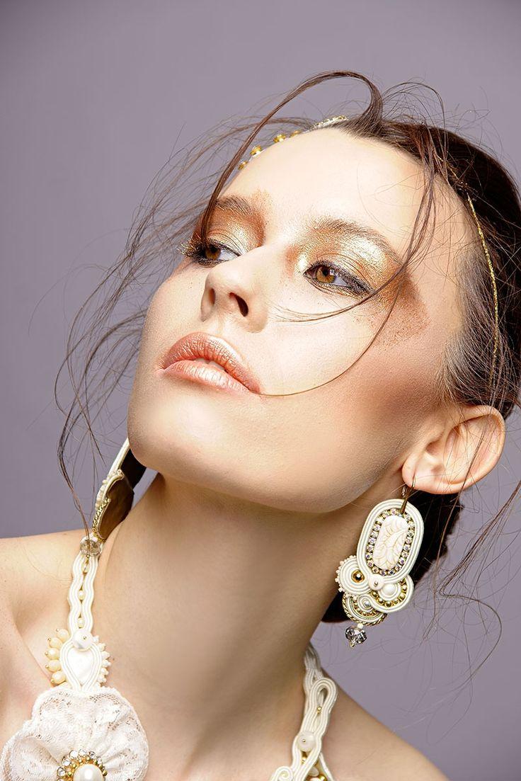 Weeding makeup, makijaż ślubny artystyczny. Złoty makijaż, gold makeup.