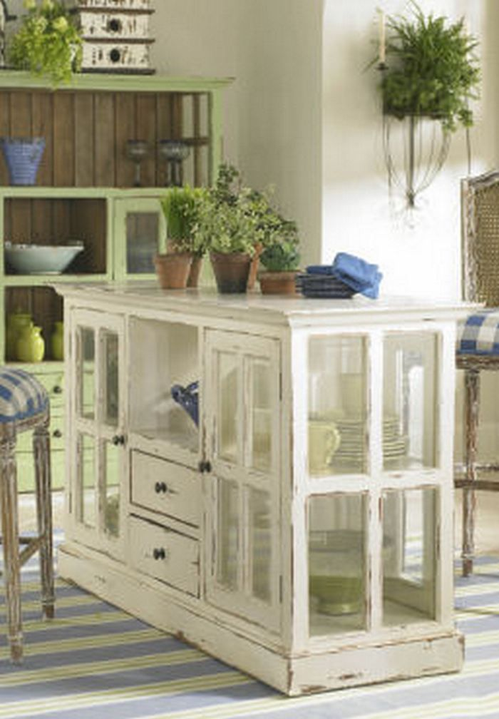 Kitchen Island Using Old Windows - Love this idea . . . . would love to try doing it.