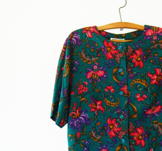 Vintage Deep Emerald Paisley Floral Blouse / Slouchy Oversized Romantic Floral Top / 80's Floral Button Up Blouse