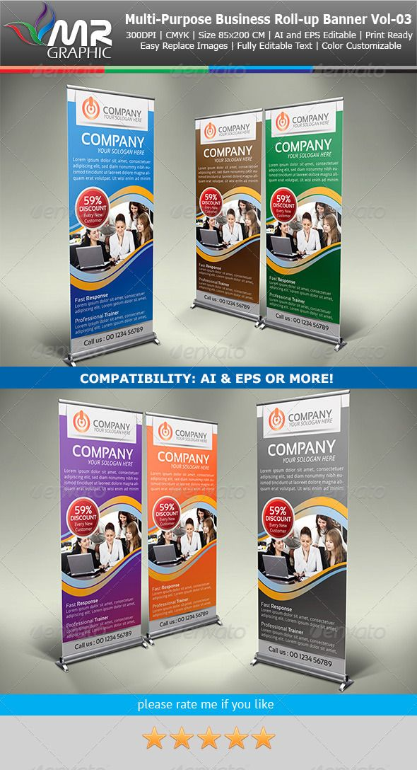 Multipurpose Business RollUp Banner Vol03 — Vector EPS #rollup banner #creativ...