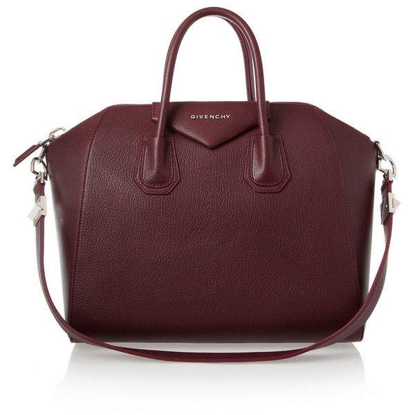 Givenchy Medium Antigona bag in burgundy textured-leather found on Polyvore