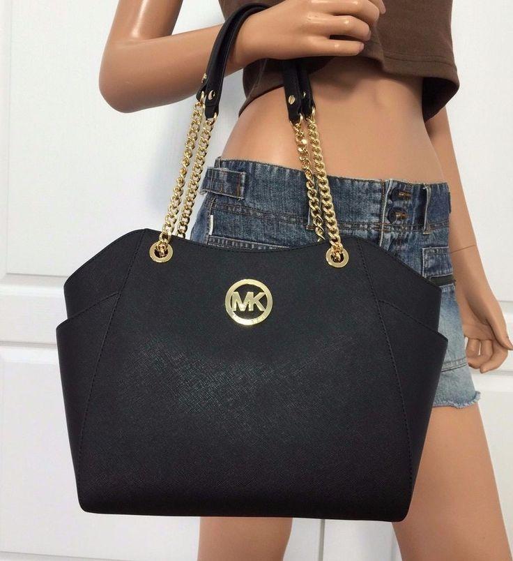Michael Kors Saffiano Leather Travel Tote Shoulder Handbag Bag Purse Black | eBay