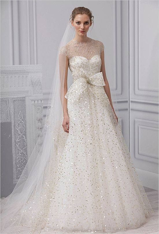 Monique Lhuillier Gold Embellished Wedding Ball Gown The Scoop Spotlight Sparkly Dresses
