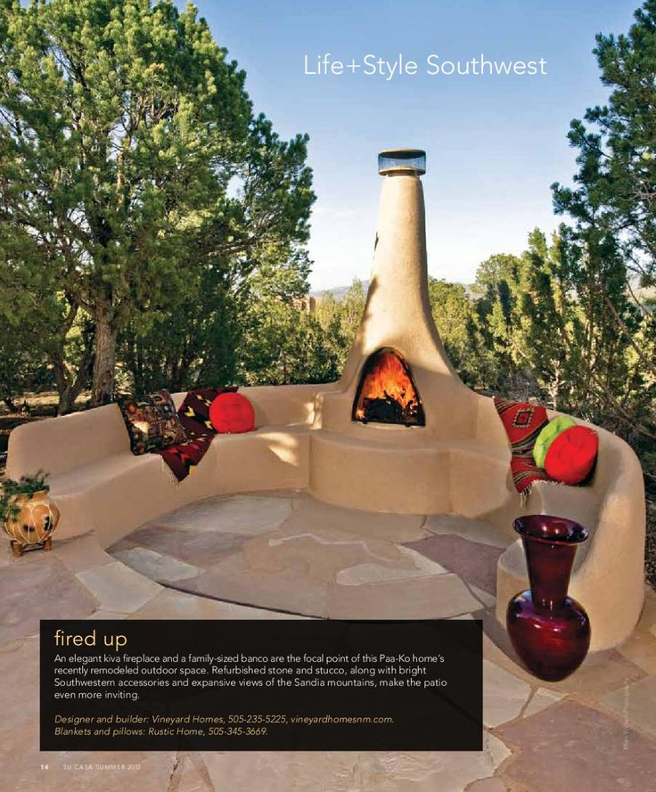 59 best kiva fireplaces images on pinterest adobe for Outdoor living magazine