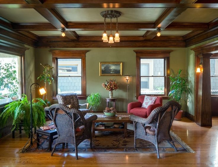 Paint colors that work with stained wood.  untoldla.com-dark-stained-wood-trim-craftsman-home-living-room