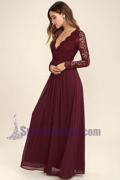 56213702ee42 2018 Cheap Chiffon Lace top Long Sleeves Custom Most Popular Open Back Bridesmaid  Dress , WG215
